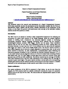 Report on Nepali Computational Grammar. Prajwal Rupakheti, Laxmi Prasad Khatiwada Bal Krishna Bal