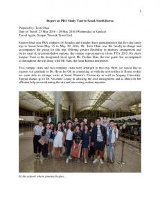 Report on PRA Study Tour to Seoul, South Korea