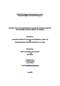 REPORT ON STATUS REVIEW OF NATIONAL STRATEGIES FOR SUSTAINABLE DEVELOPMENT IN GHANA