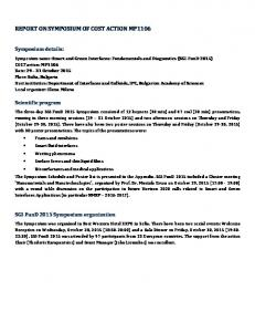 REPORT ON SYMPOSIUM OF COST ACTION MP1106