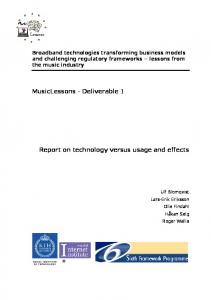 Report on technology versus usage and effects