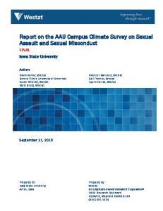 Report on the AAU Campus Climate Survey on Sexual Assault and Sexual Misconduct
