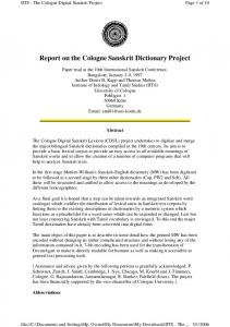 Report on the Cologne Sanskrit Dictionary Project