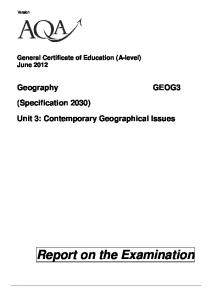Report on the Examination