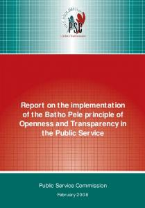 Report on the implementation of the Batho Pele principle of Openness and Transparency in the Public Service