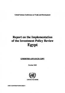 Report on the Implementation of the Investment Policy Review Egypt