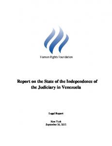 Report on the State of the Independence of the Judiciary in Venezuela
