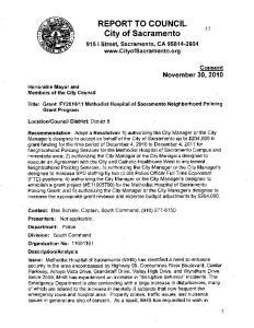 REPORT TO COUNCIL. City of Sacramento. 915 I Street, Sacramento, CA Consent November 30, 2010
