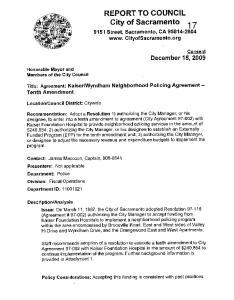 REPORT TO COUNCIL City of Sacramento
