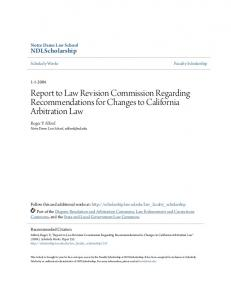 Report to Law Revision Commission Regarding Recommendations for Changes to California Arbitration Law