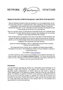 Report to the 2013 AGM for the period 1 April 2012 to 29 April 2013