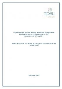 Report to the Patient Safety Research Programme (Policy Research Programme of the Department Of Health)