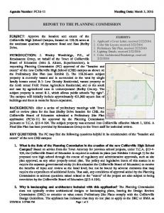 REPORT TO THE PLANNING COMMISSION