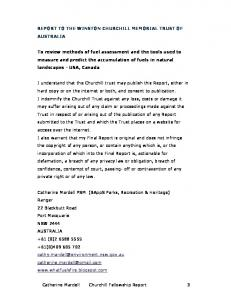 REPORT TO THE WINSTON CHURCHILL MEMORIAL TRUST OF AUSTRALIA