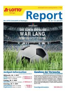 Report WAR LANG. DIE SOMMERPAUSE. Jackpot-Information. Gewinne der Vorwoche DER BUNDESLIGASTART BEI ODDSET