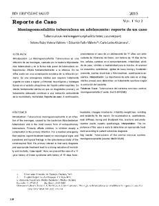 Reporte de Caso. Meningoencefalitis tuberculosa en adolescente: reporte de un caso