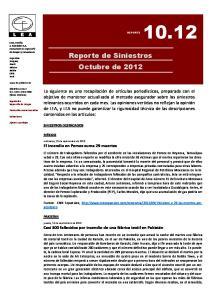 Reporte de Siniestros Octubre de 2012