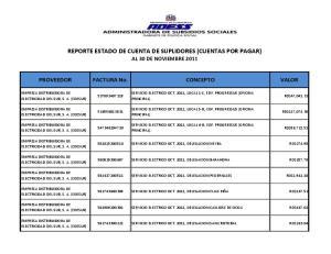 REPORTE ESTADO DE CUENTA DE SUPLIDORES (CUENTAS POR PAGAR) AL 30 DE NOVIEMBRE 2011