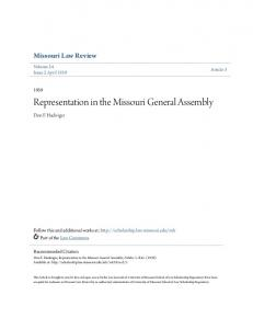 Representation in the Missouri General Assembly