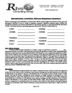 Representation, Liquidation, M&A and Engagement Agreement