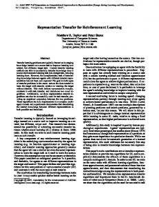 Representation Transfer for Reinforcement Learning