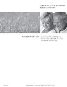 Representative Guide Benefit Rider on Variable Annuities Ameritas Life Insurance Corp
