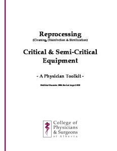 Reprocessing. Critical & Semi-Critical Equipment