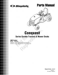 Reproduction. Not for. Conquest Series Garden Tractors & Mower Decks. Parts Manual. 26HP Product. Manual Part No