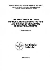 REPRODUCTIVE FACTORS AND THE RISK OF DEVELOPING RHEUMATOID ARTHRITIS