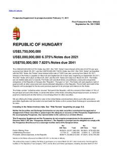 REPUBLIC OF HUNGARY. US$3,750,000,000 US$3,000,000, % Notes due 2021 US$750,000, % Notes due 2041