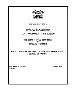 REPUBLIC OF KENYA KENYA NATIONAL ASSEMBLY TENTH PARLIAMENT THIRD SESSION THE DEPARTMENTAL COMMITTEE ON LOCAL AUTHORITIES