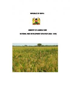 REPUBLIC OF KENYA MINISTRY OF AGRICULTURE NATIONAL RICE DEVELOPMENT STRATEGY ( )