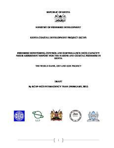 REPUBLIC OF KENYA MINISTRY OF FISHERIES DEVELOPMENT KENYA COASTAL DEVELOPMENT PROJECT (KCDP)