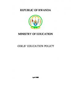 REPUBLIC OF RWANDA MINISTRY OF EDUCATION GIRLS EDUCATION POLICY