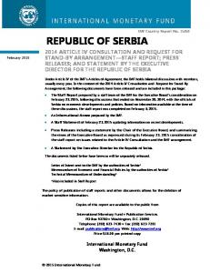 REPUBLIC OF SERBIA. A Statement by the Executive Director for the Republic of Serbia
