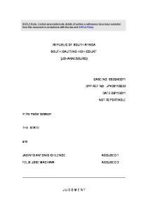 REPUBLIC OF SOUTH AFRICA SOUTH GAUTENG HIGH COURT (JOHANNESBURG)