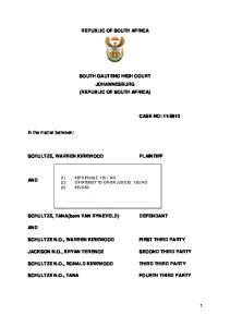 REPUBLIC OF SOUTH AFRICA SOUTH GAUTENG HIGH COURT JOHANNESBURG (REPUBLIC OF SOUTH AFRICA)