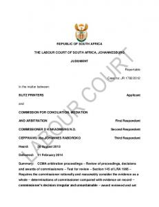 REPUBLIC OF SOUTH AFRICA THE LABOUR COURT OF SOUTH AFRICA, JOHANNESBURG JUDGMENT