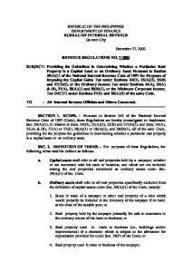 REPUBLIC OF THE PHILIPPINES DEPARTMENT OF FINANCE BUREAU OF INTERNAL REVENUE Quezon City REVENUE REGULATIONS NO