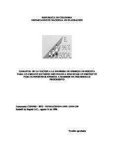 REPUBLICA DE COLOMBIA DEPARTAMENTO NACIONAL DE PLANEACION