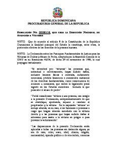 REPUBLICA DOMINICANA PROCURADURIA GENERAL DE LA REPUBLICA