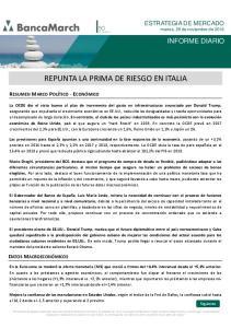 REPUNTA LA PRIMA DE RIESGO EN ITALIA