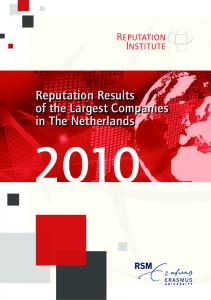 Reputation Results of the Largest Companies in The Netherlands