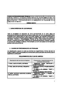 REQUERIMIENTOS DEL PLAN DE LIMPIEZA