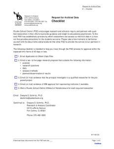 Request for Archival Data Checklist