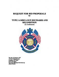 REQUEST FOR BID PROPOSALS for