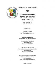 REQUEST FOR BID (RFB) FOR CONCRETE CULVERT REPAIR ON CTH P IN JUNCTION CITY BID #