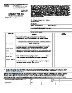 REQUEST FOR BID Weatherization Services
