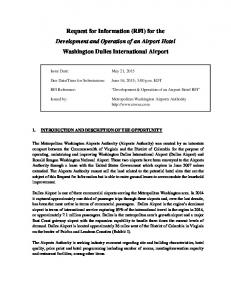 Request for Information (RFI) for the. Development & Operation of an Airport Hotel RFI. Washington Dulles International Airport