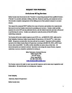 REQUEST FOR PROPOSAL. Ambulance Billing Services